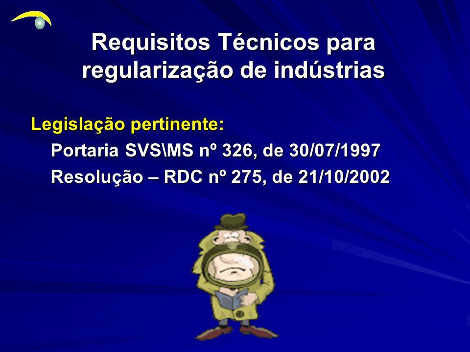 Requisitos Técnicos para regularização de indústrias
