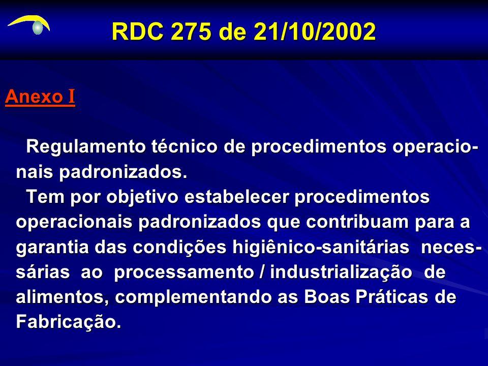 RDC 275 de 21/10/2002 Anexo I. Regulamento técnico de procedimentos operacio- nais padronizados. Tem por objetivo estabelecer procedimentos.