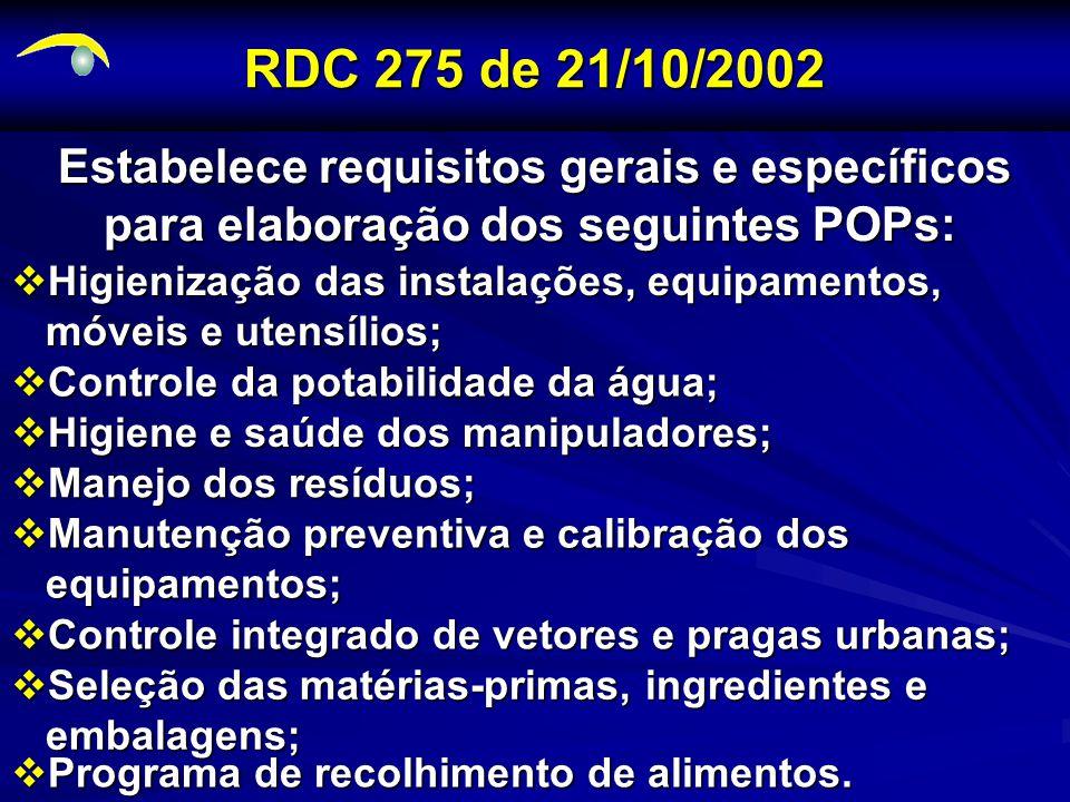 RDC 275 de 21/10/2002 Estabelece requisitos gerais e específicos