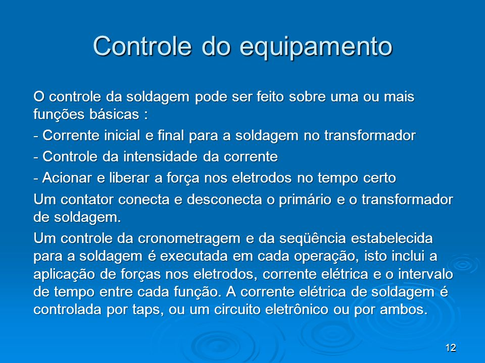 Controle do equipamento