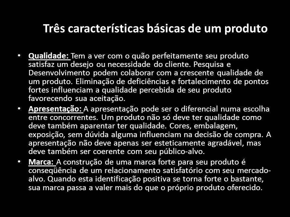 As Três características básicas de um produto