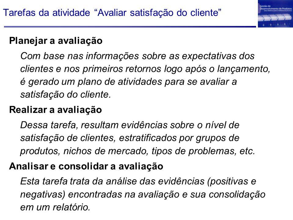 Tarefas da atividade Avaliar satisfação do cliente