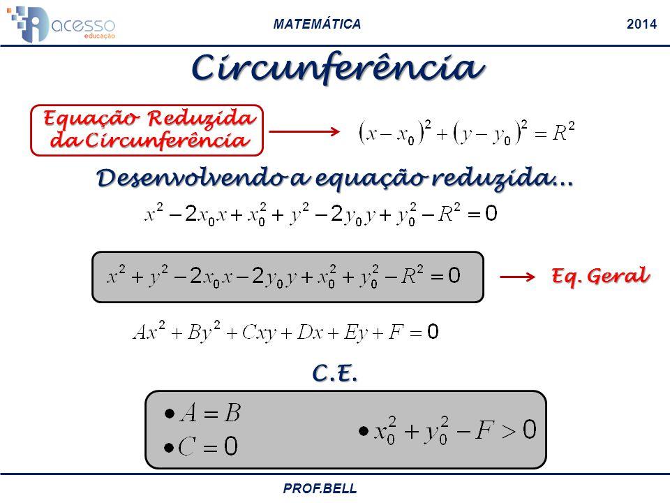 Equação Reduzida da Circunferência Desenvolvendo a equação reduzida...