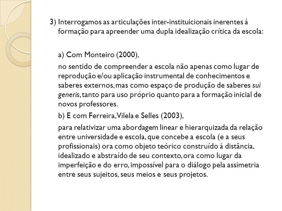 3) Interrogamos as articulações inter-instituicionais inerentes à formação para apreender uma dupla idealização crítica da escola: