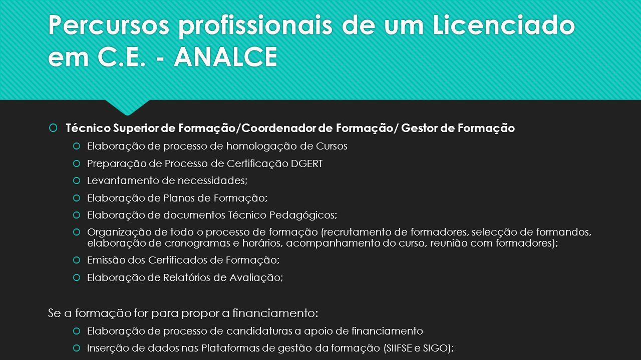 Percursos profissionais de um Licenciado em C.E. - ANALCE