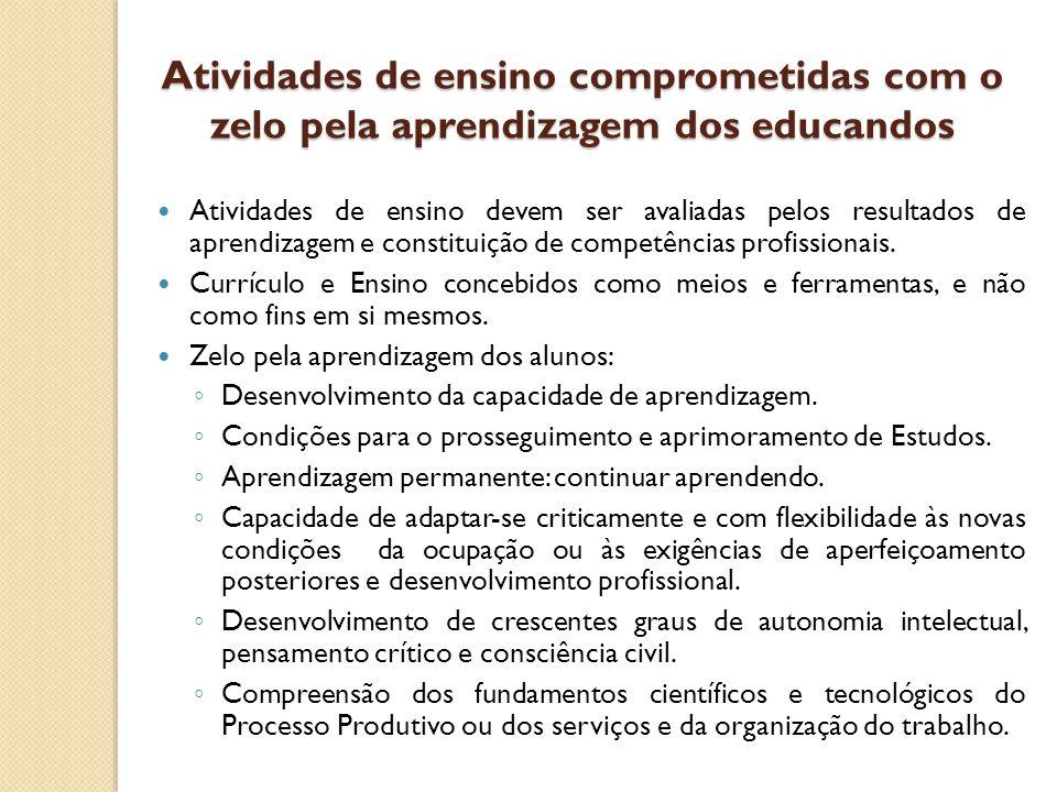 Atividades de ensino comprometidas com o zelo pela aprendizagem dos educandos