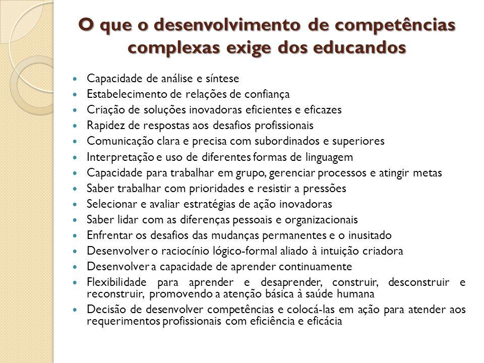 O que o desenvolvimento de competências complexas exige dos educandos