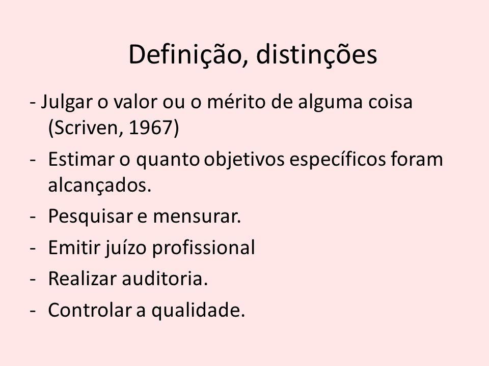 Definição, distinções - Julgar o valor ou o mérito de alguma coisa (Scriven, 1967) Estimar o quanto objetivos específicos foram alcançados.