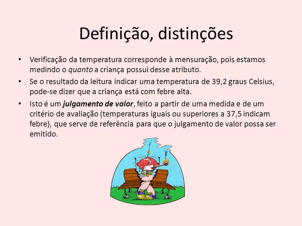 Definição, distinções Verificação da temperatura corresponde à mensuração, pois estamos medindo o quanto a criança possui desse atributo.