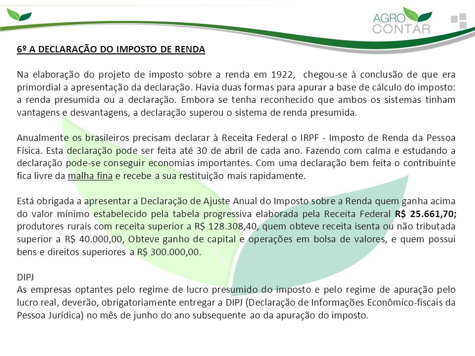 6º A DECLARAÇÃO DO IMPOSTO DE RENDA
