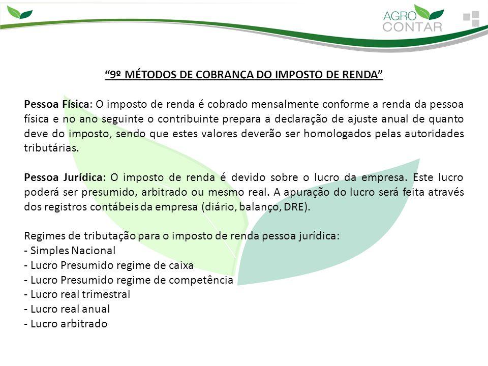 9º MÉTODOS DE COBRANÇA DO IMPOSTO DE RENDA