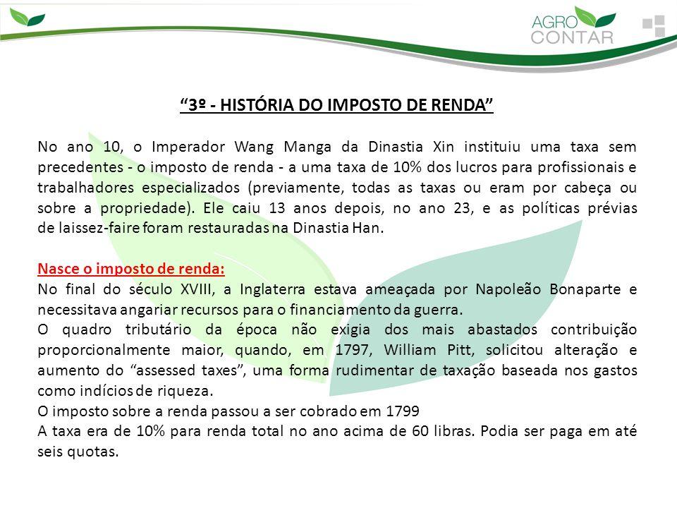 3º - HISTÓRIA DO IMPOSTO DE RENDA