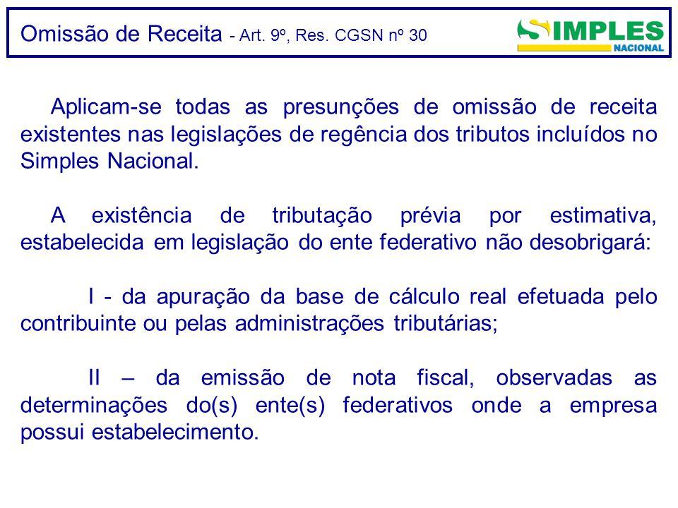 Omissão de Receita - Art. 9º, Res. CGSN nº 30