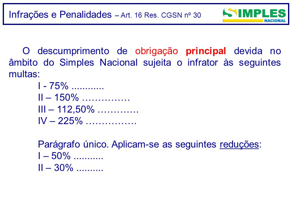 Infrações e Penalidades – Art. 16 Res. CGSN nº 30