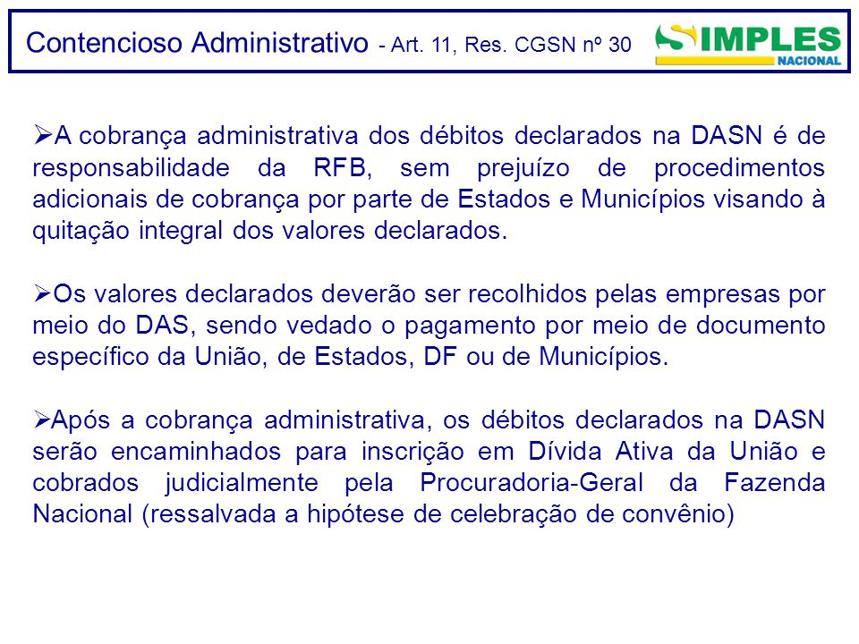 Contencioso Administrativo - Art. 11, Res. CGSN nº 30