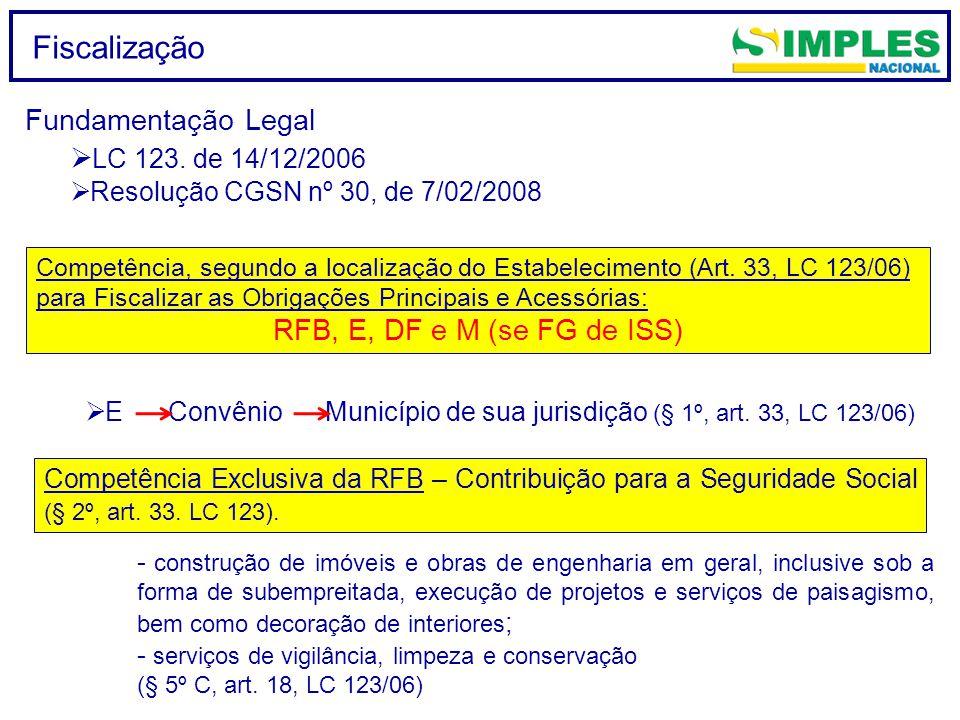 Fiscalização Fundamentação Legal LC 123. de 14/12/2006