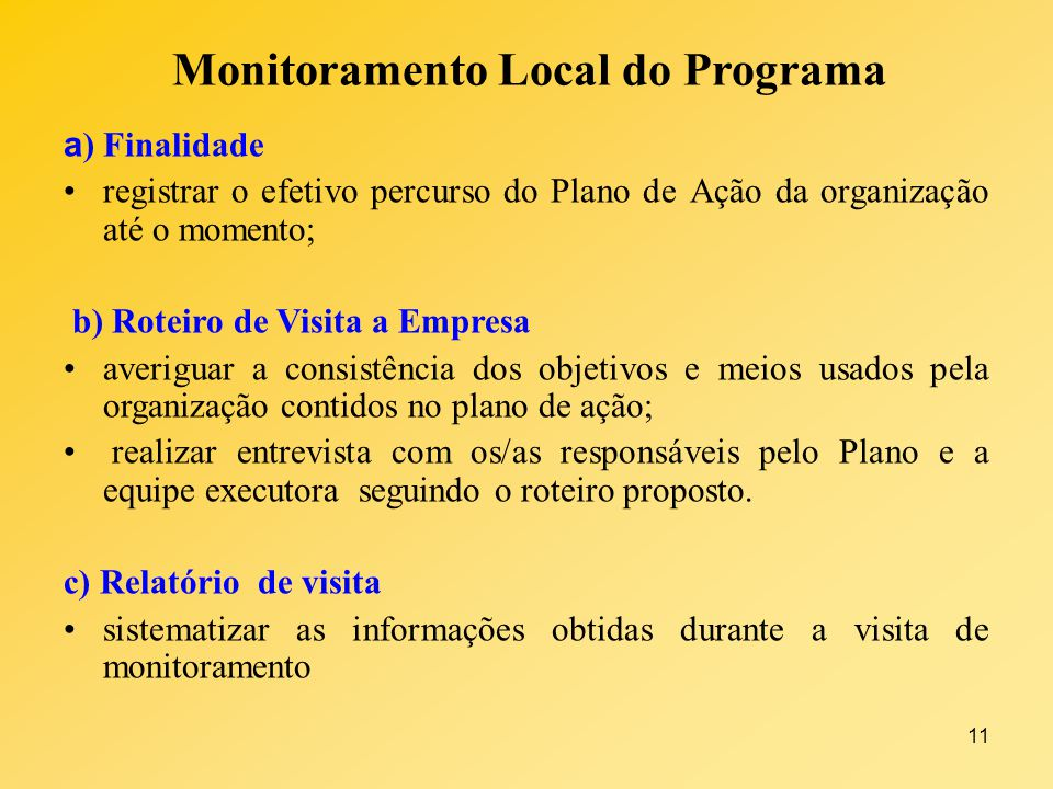 Monitoramento Local do Programa