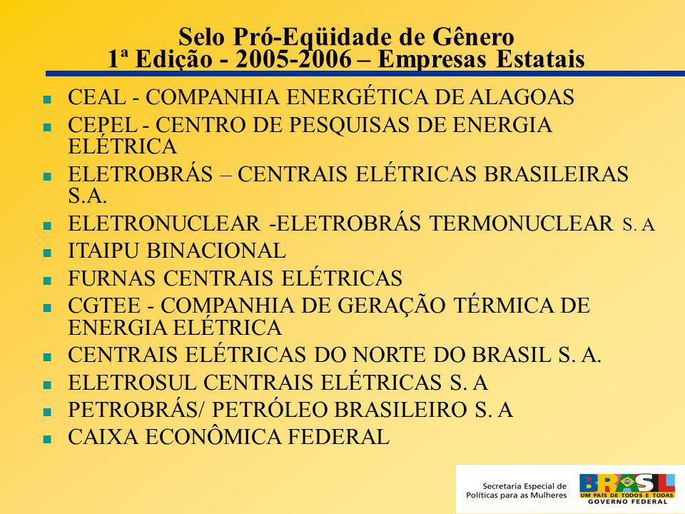 Selo Pró-Eqüidade de Gênero 1ª Edição - 2005-2006 – Empresas Estatais