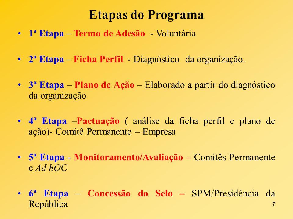 Etapas do Programa 1ª Etapa – Termo de Adesão - Voluntária