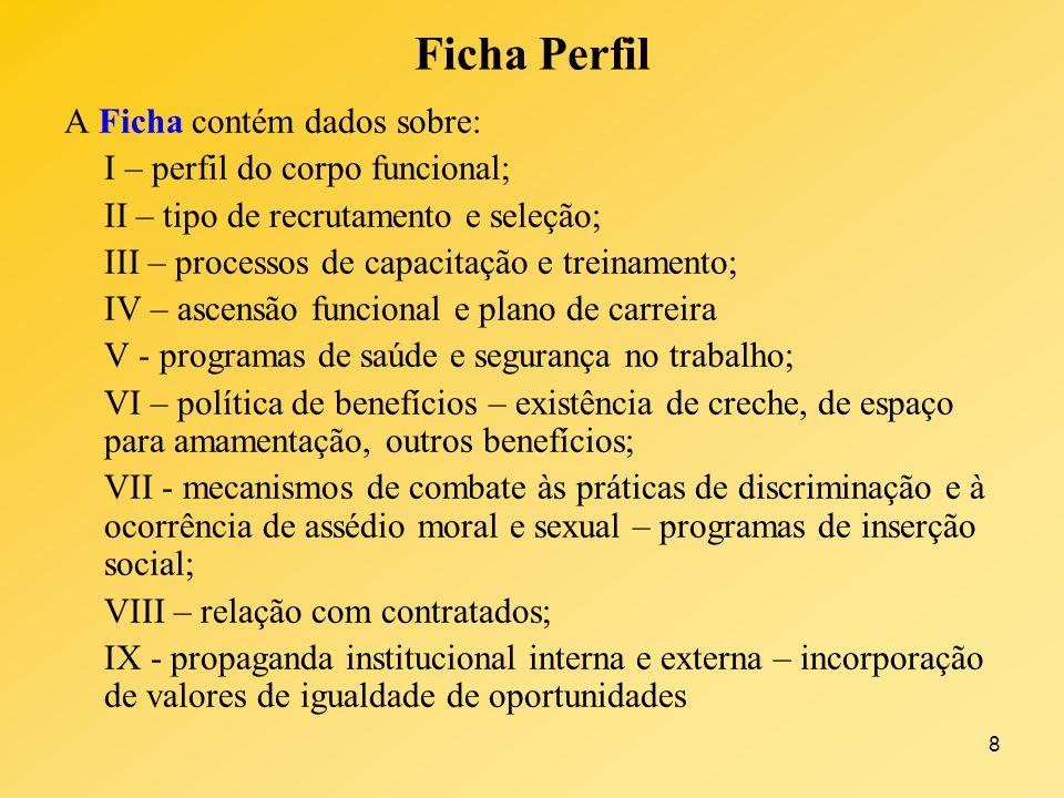 Ficha Perfil A Ficha contém dados sobre: