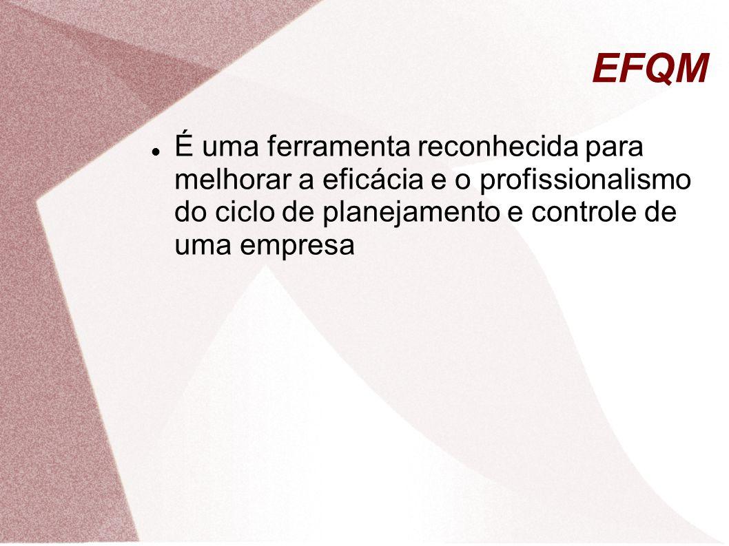 EFQM É uma ferramenta reconhecida para melhorar a eficácia e o profissionalismo do ciclo de planejamento e controle de uma empresa.