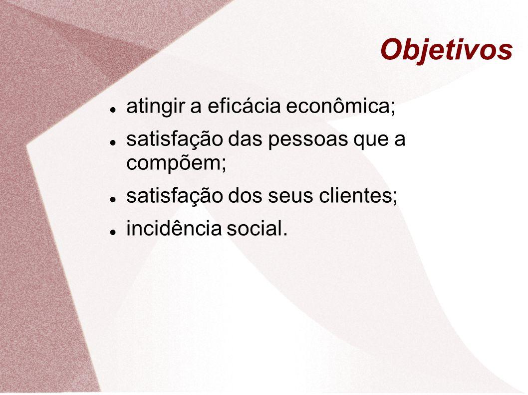 Objetivos atingir a eficácia econômica;