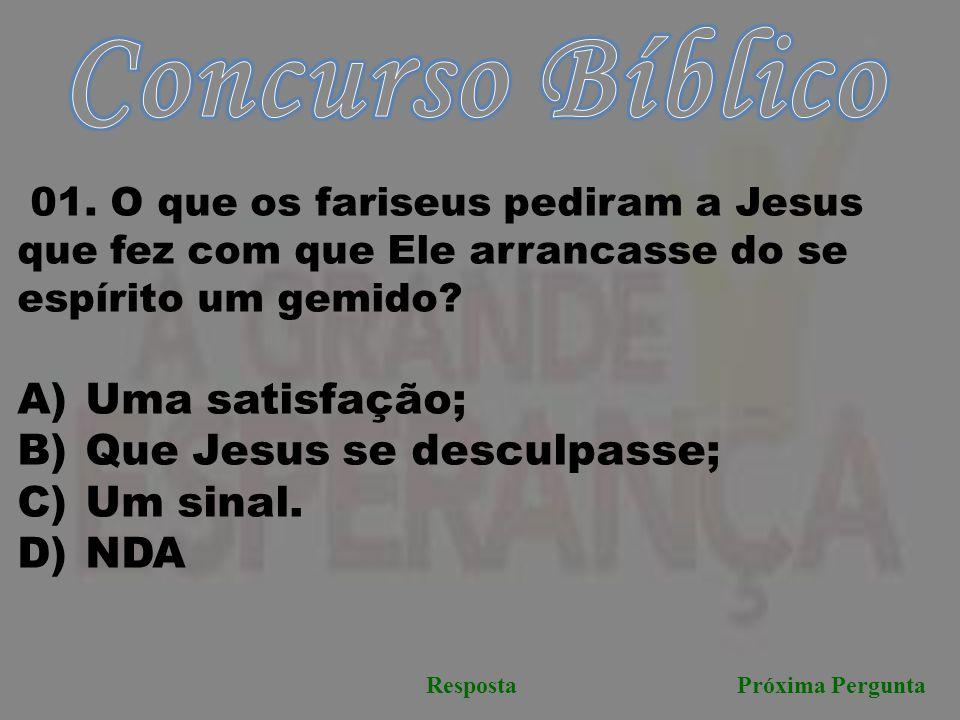 Concurso Bíblico Uma satisfação; Que Jesus se desculpasse; Um sinal.