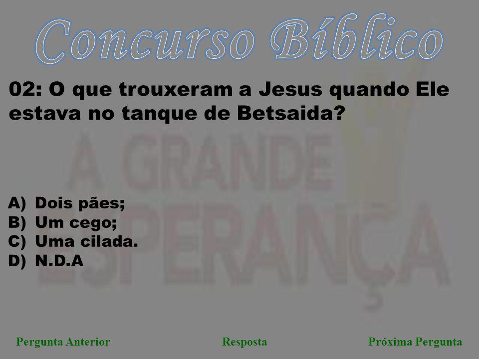 Concurso Bíblico 02: O que trouxeram a Jesus quando Ele estava no tanque de Betsaida Dois pães; Um cego;