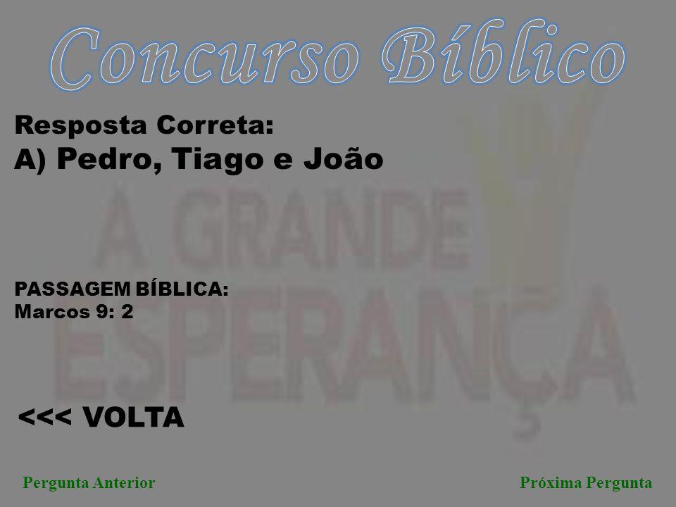 Concurso Bíblico A) Pedro, Tiago e João <<< VOLTA