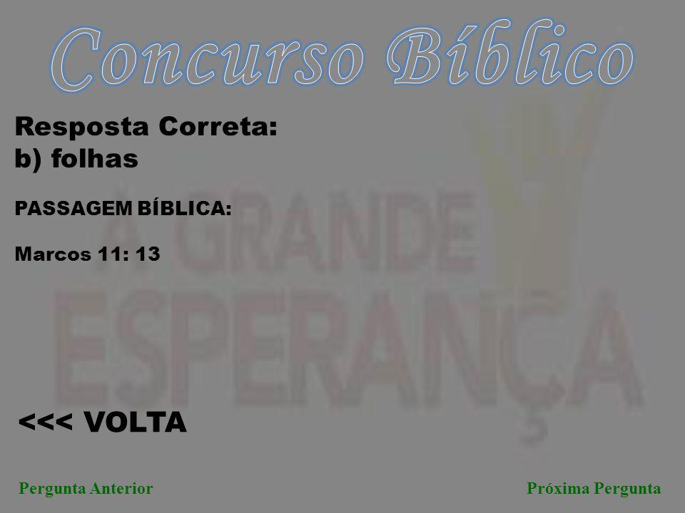 Concurso Bíblico <<< VOLTA Resposta Correta: b) folhas