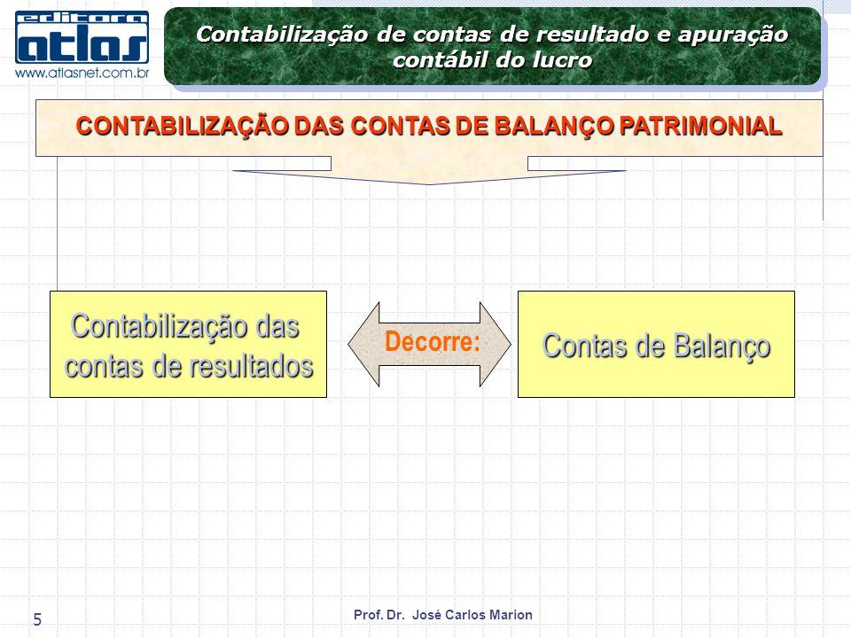 Contabilização das Contas de Balanço contas de resultados Decorre: