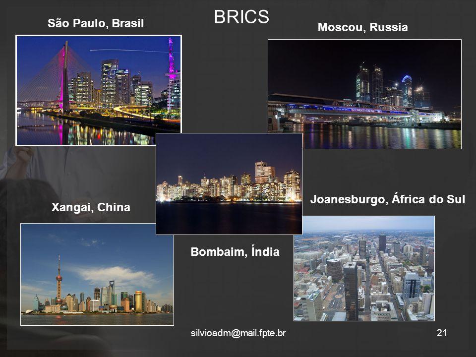 BRICS São Paulo, Brasil Moscou, Russia Joanesburgo, África do Sul