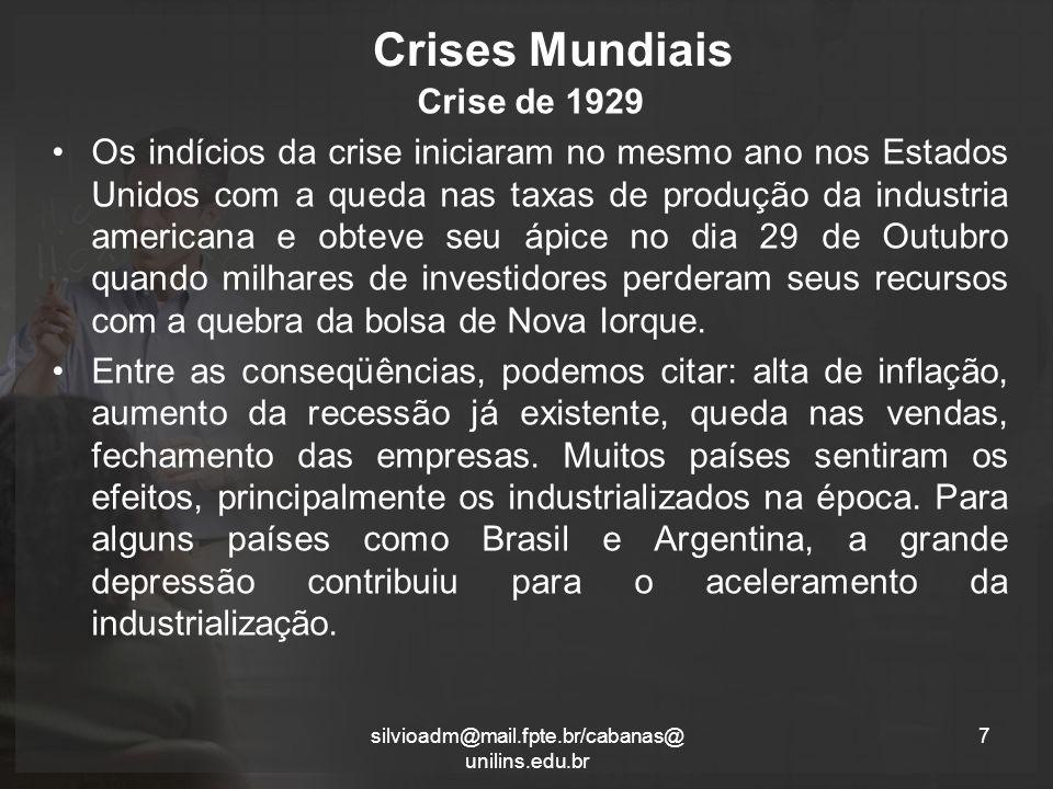 Crises Mundiais Crise de 1929