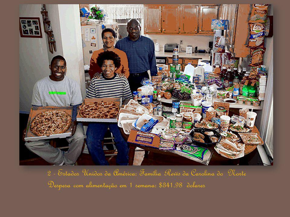 2 - Estados Unidos da América: Família Revis da Carolina do Norte Despesa com alimentação em 1 semana: $341.98 dolares