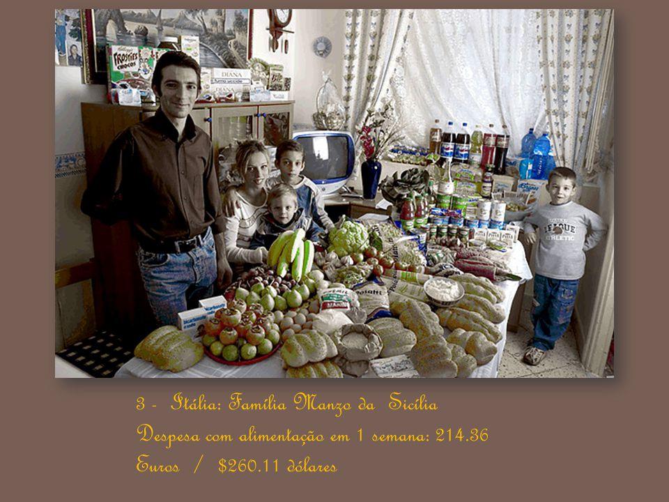 3 - Itália: Família Manzo da Sicília Despesa com alimentação em 1 semana: 214.36 Euros / $260.11 dólares