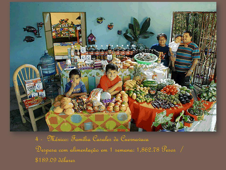 4 - México: Família Casales de Cuernavaca Despesa com alimentação em 1 semana: 1,862.78 Pesos / $189.09 dólares