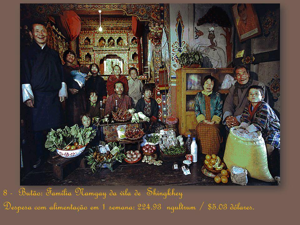 8 - Butão: Família Namgay da vila de Shingkhey Despesa com alimentação em 1 semana: 224.93 ngultrum / $5.03 dólares.