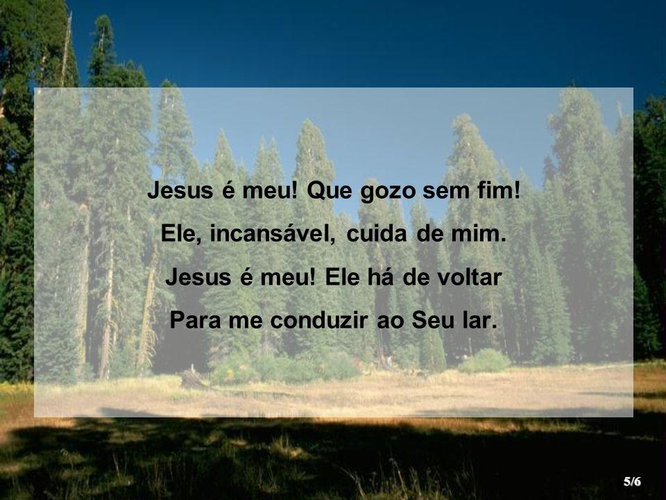 Jesus é meu! Que gozo sem fim! Ele, incansável, cuida de mim.