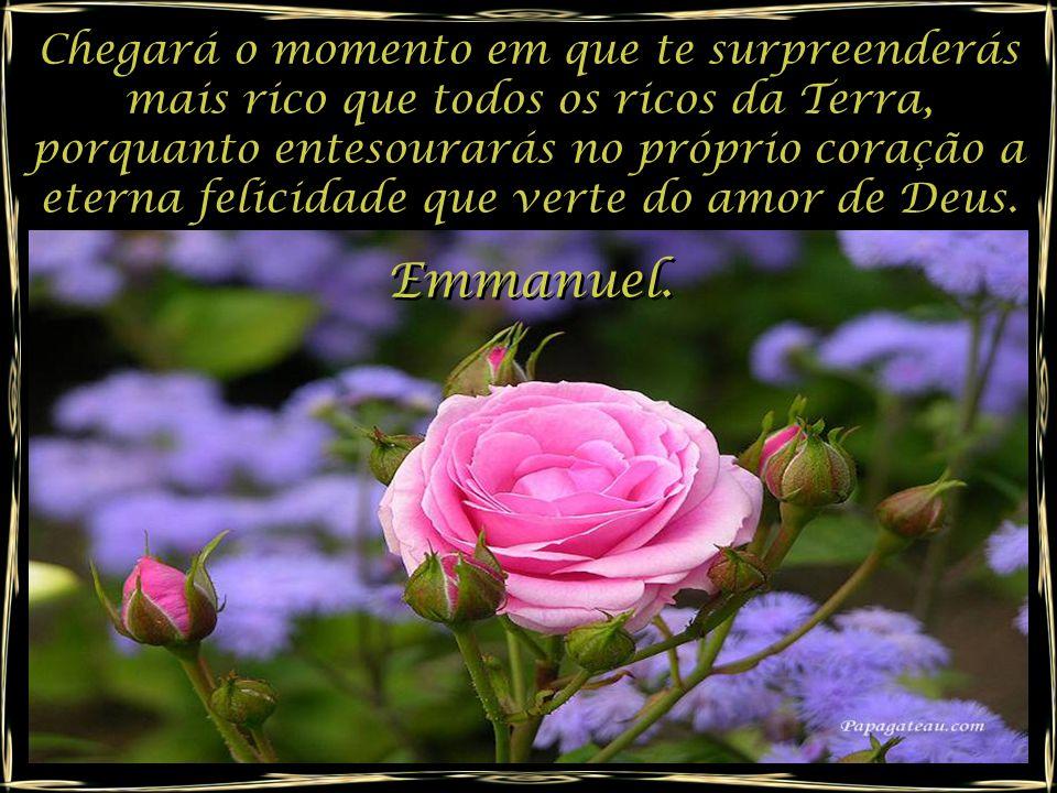 Chegará o momento em que te surpreenderás mais rico que todos os ricos da Terra, porquanto entesourarás no próprio coração a eterna felicidade que verte do amor de Deus.