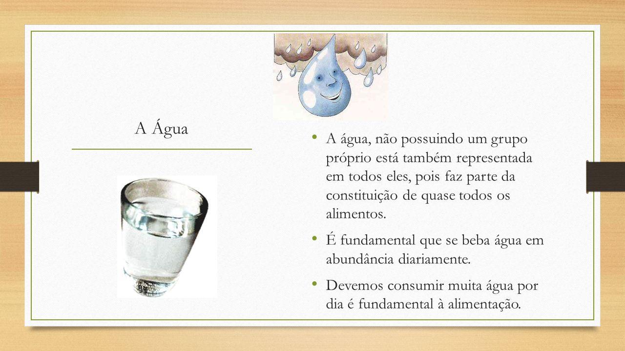 A Água A água, não possuindo um grupo próprio está também representada em todos eles, pois faz parte da constituição de quase todos os alimentos.