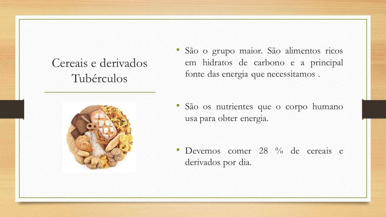 Cereais e derivados Tubérculos