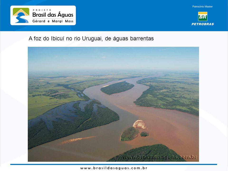 A foz do Ibicuí no rio Uruguai, de águas barrentas