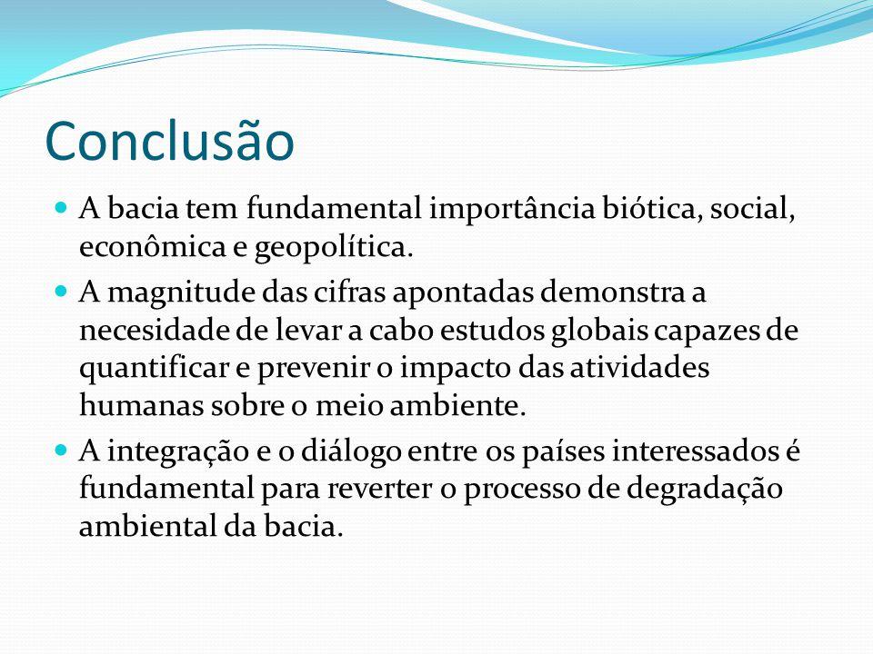 Conclusão A bacia tem fundamental importância biótica, social, econômica e geopolítica.