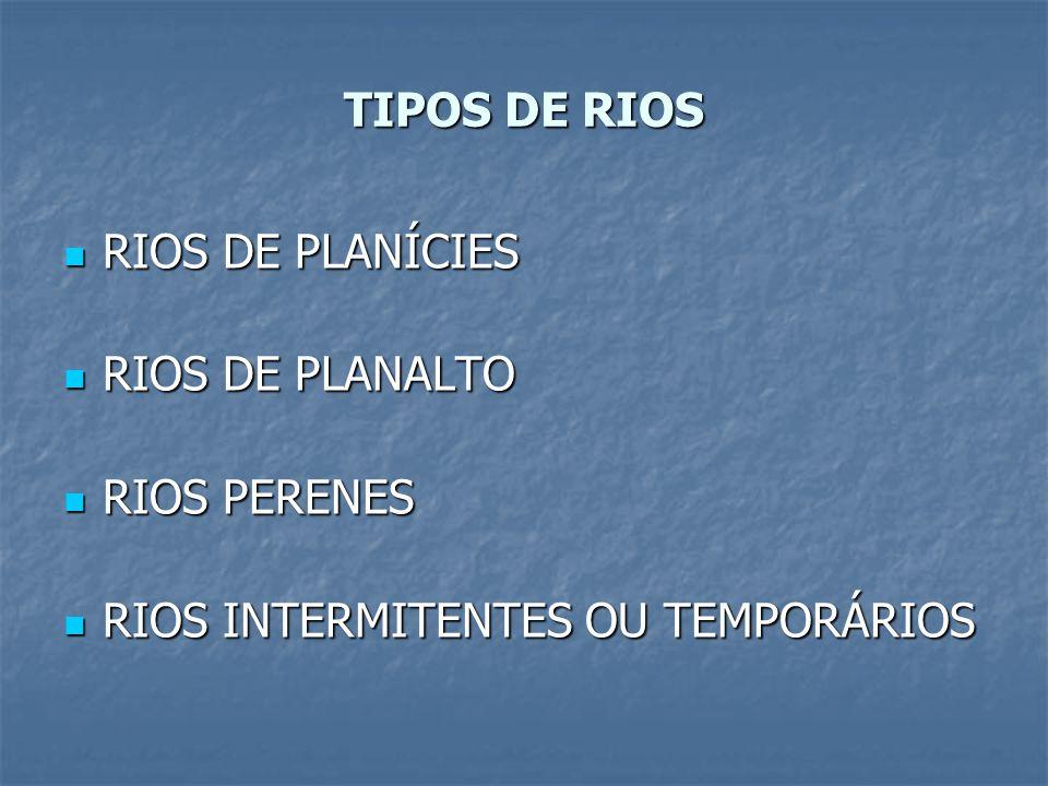 TIPOS DE RIOS RIOS DE PLANÍCIES RIOS DE PLANALTO RIOS PERENES RIOS INTERMITENTES OU TEMPORÁRIOS