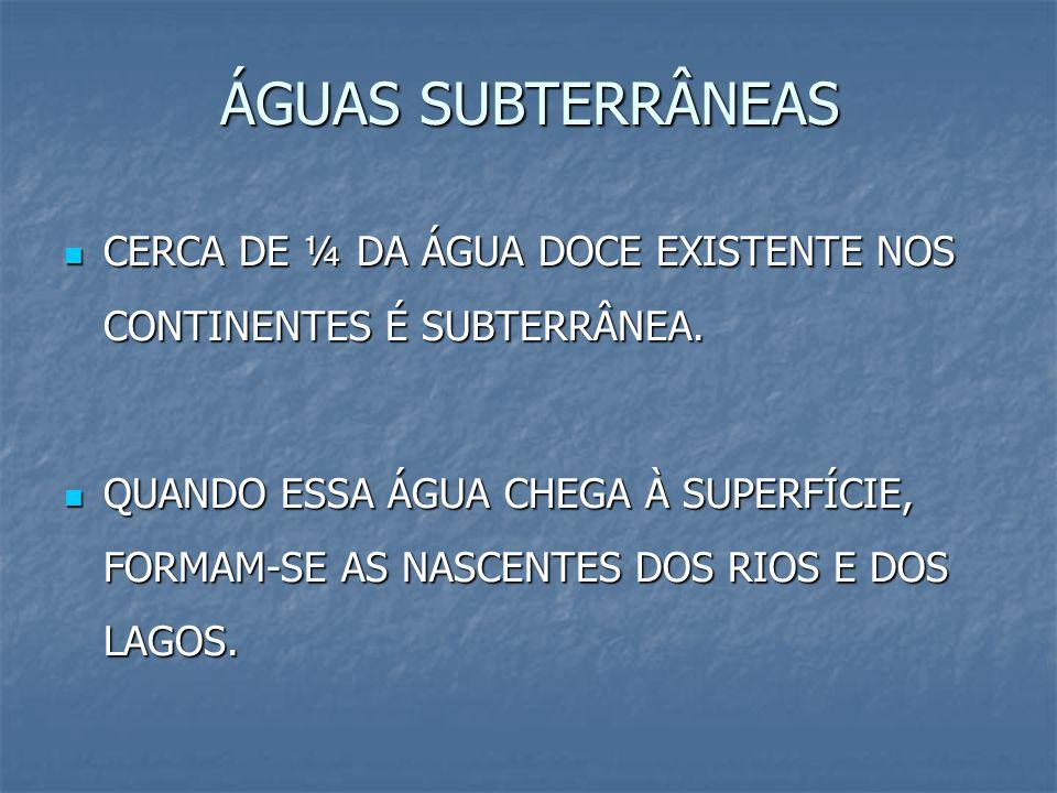 ÁGUAS SUBTERRÂNEAS CERCA DE ¼ DA ÁGUA DOCE EXISTENTE NOS CONTINENTES É SUBTERRÂNEA.