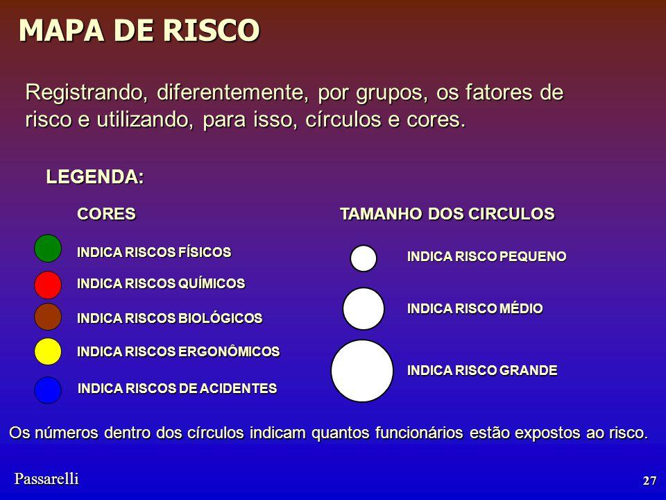 Registrando, diferentemente, por grupos, os fatores de risco e utilizando, para isso, círculos e cores.