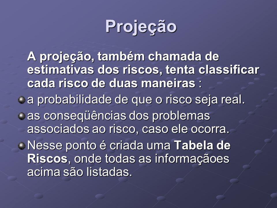 Projeção A projeção, também chamada de estimativas dos riscos, tenta classificar cada risco de duas maneiras :