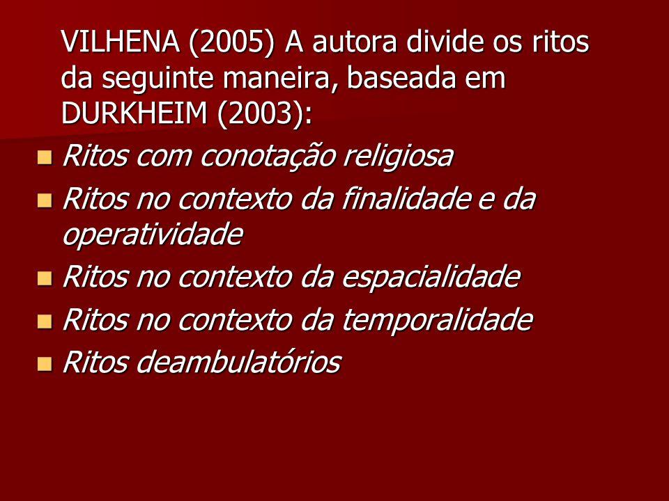 VILHENA (2005) A autora divide os ritos da seguinte maneira, baseada em DURKHEIM (2003):