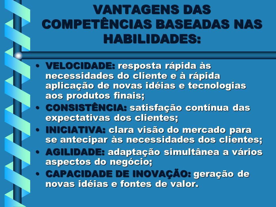 VANTAGENS DAS COMPETÊNCIAS BASEADAS NAS HABILIDADES: