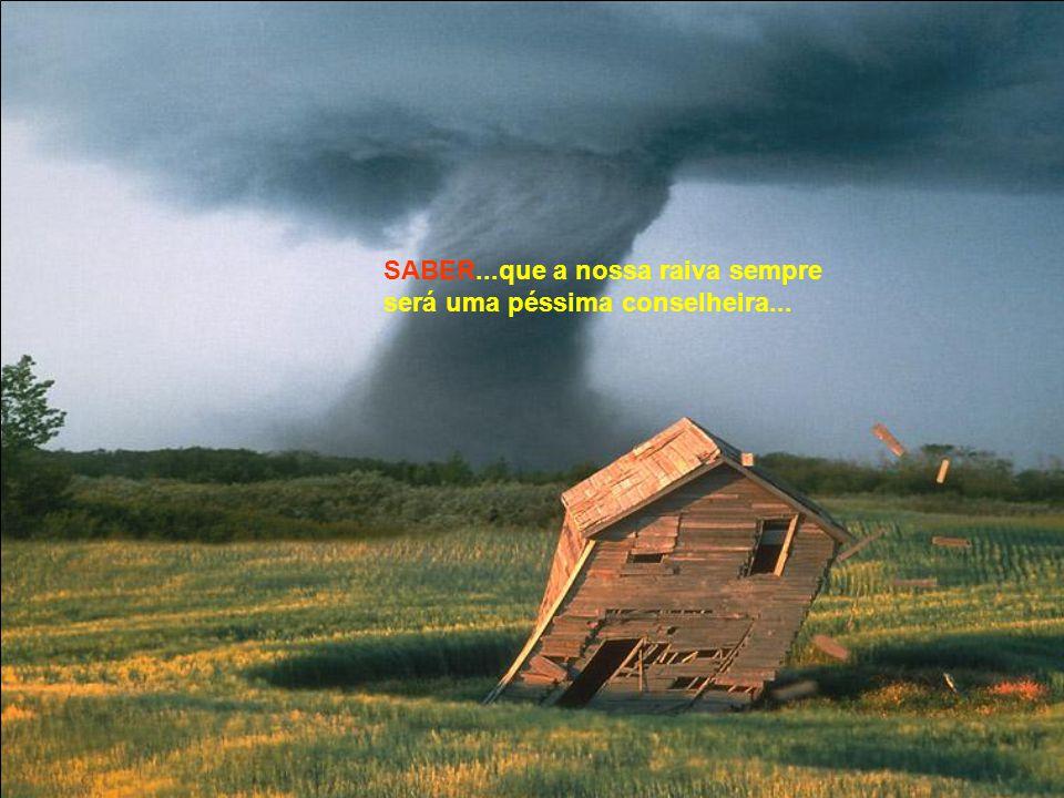 SABER...que a nossa raiva sempre será uma péssima conselheira...